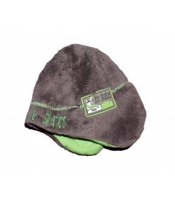 Mikka wellsoft füles sapka -zöld hímzéssel 48 cm