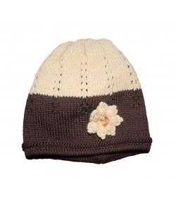 Minimanó sötétbarna - mogyoró virágos kötött sapka 50 cm