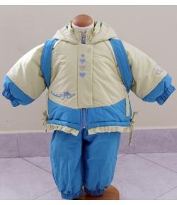 2 részes lány bélelt téli szett 68-74-es sárga-kék