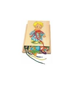 Fa konstrukciós játék - öltöztetős kisfiú