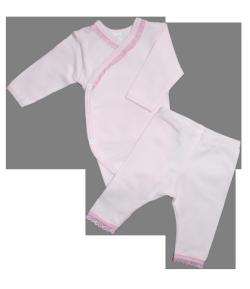 Alkalmi rózsaszín body+testnadrág szett 56/62-es-0-3 hó