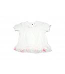 Fehér bébiruha rózsaszín virágmintás fodorral 68-as