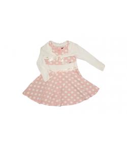 Mikka- Púder rózsaszín ruha fehér pöttyökkel díszítve+hozzáillő boleróval