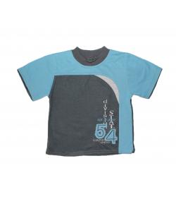 Zsil- Sötét szürke-világos kék betéttel díszített fiú póló 104-es