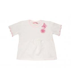 Lollipop- Fehér rózsaszín szegővel díszített kislány póló 92-es