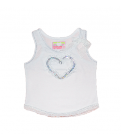 Mikka - Fehér pamut kislány trikó 80-as