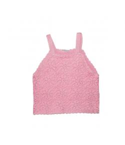 Dirkje- Spagetti pántos rózsaszín horgolt kislány top