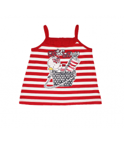 Mc baby - Piros- fehér csíkos spagetti pántos ruha