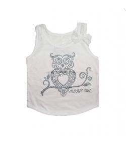Mikka- Fehér csipkével kombinált lányka trikó