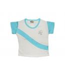 Brando 2000- Fehér alapon világos kék ujjal díszített kislány póló
