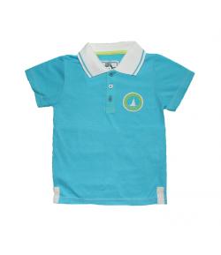 Mikka- Galléros világoskék színű kisfiú póló 110-es