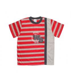 Zsil - Piros- szürke csíkos kerek nyakú fiú póló 128-as