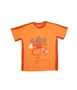 Mc baby - Narancs színű, rozsdabarna betéttel díszített fiú póló 7 éves