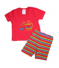Boniface- Pink rövid ujjú póló- nyári csíkos rövid nadrággal