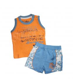 Mc baby- Narancs színű trikó, kék rövidnadrággal 3hó
