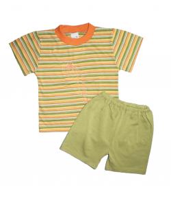 Ring-Narancs-fehér-zöld csíkos trikó-zöld rövidnadrággal 86-os