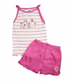 Scamp- Kislány spagetti pántos atléta, rózsaszín rövidnadrággal