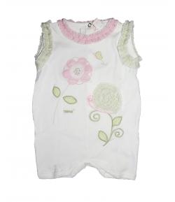 TRIMEX- Fehér, fodros anyaggal díszített kislány napozó 74-es
