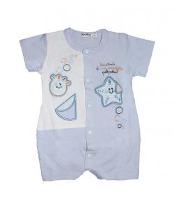MANAI baby- Világoskék, tengeri élőlényekkel mintázott kisfiús napozó, elől végig patentos 1 hónapos kortól