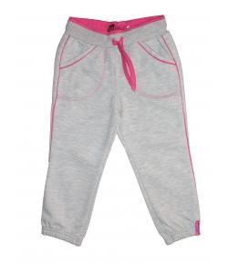 Mikka- Világos szürke szabadidő nadrág pink tűzéssel díszítve