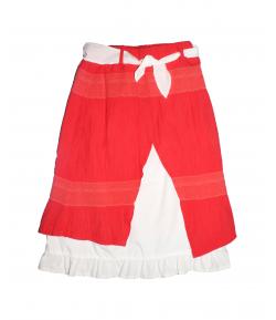 Lollipop- Korallpiros színű A vonalú alkalmi szoknya