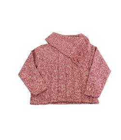 Green apple - Pink-bordó-fehér melírozott fonalból kötött kislány vastag pulóver 116-122-es