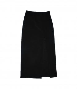 Nagyon elegáns, fekete hosszú alkalmi szoknya elől sliccelt 140-146-os