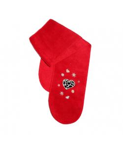 Boniface- Piros színű hímzett szívecske mintával díszített wellsoft nyaksál 52-es