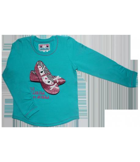 6acb487050 Mikka - lány hosszúujjú póló elől csillám mintával