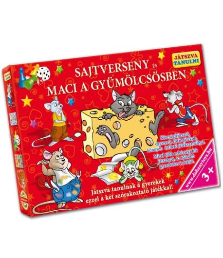 Sajtverseny és Maci a gyümölcsösben készségfejlesztő társasjáték - D-Toys