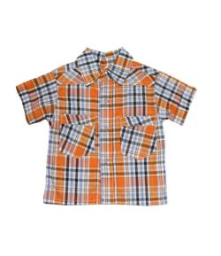 2d4082da22 Gigi - kék - narancs kockás rövidujjú ing