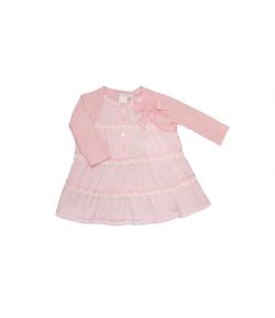 Rózsaszín krepp bébiruha 3/6 hó -62/68-as
