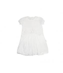 Fehér színű gyöngyös csipkemintás hagyma aljú ruha