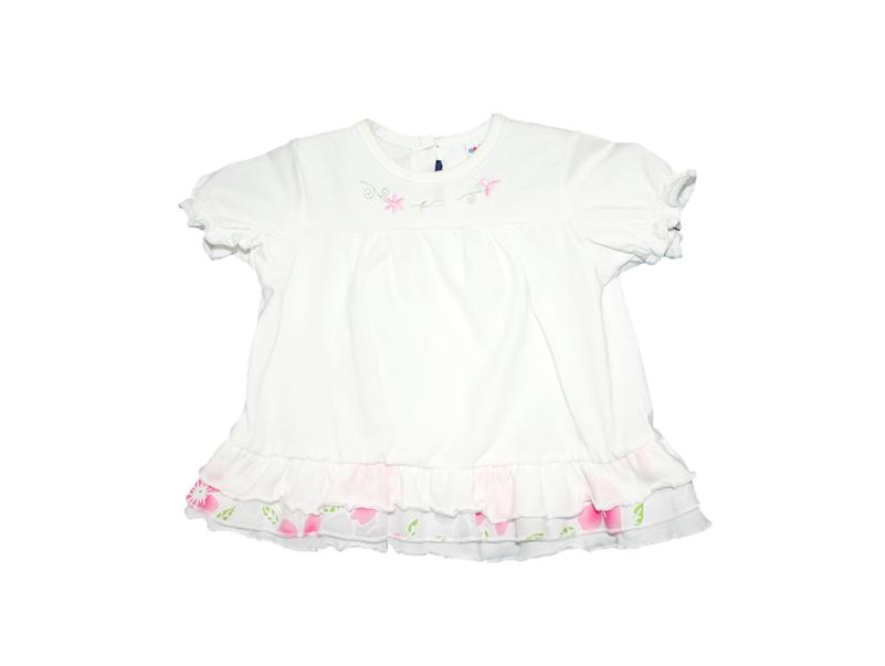 d212baee82 Fehér bébiruha rózsaszín virágmintás fodorral 68-as