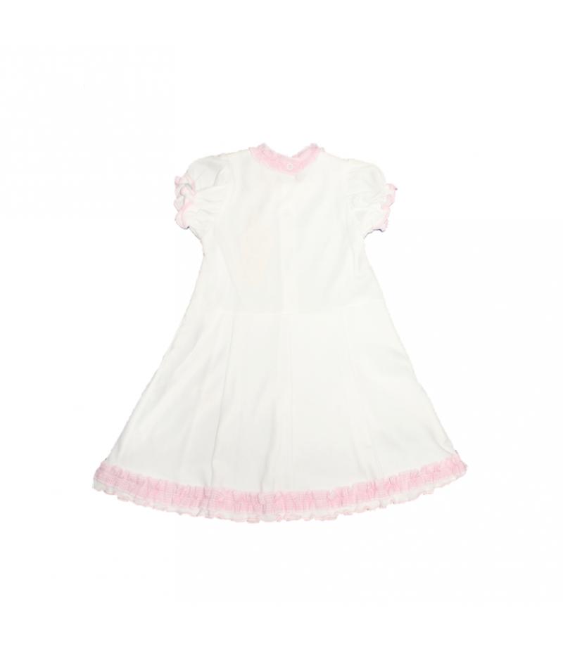 1d540be42f Fehér ruha rózsaszín szegőzéssel díszített