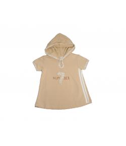 Kényelmes tejeskávé színű, kapucnis pamut ruha