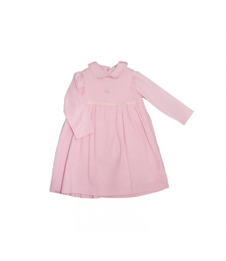 Rózsaszín bársonyruha hosszú ujjú pólóval 18 hó