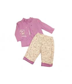 Háromrészes baba garnitúra lila és krém színben