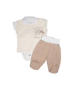 Vajszínű -Pamut kisfiú háromrészes 62-es méret