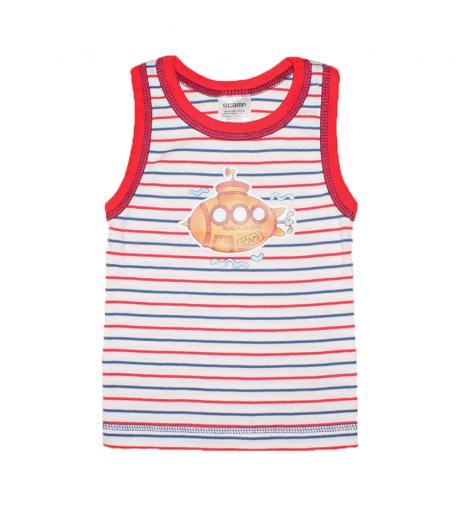 c396a2a851 Scamp- Fehér-piros-kék csíkos atléta fiú trikó