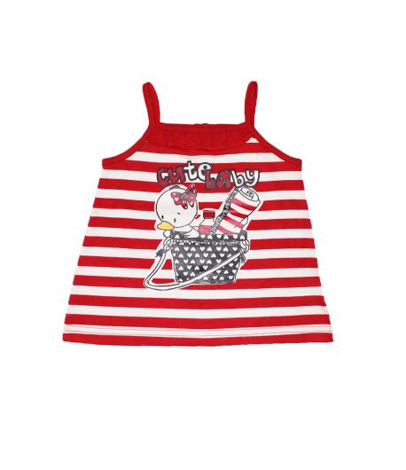 6c1749b911 Mc baby - Piros- fehér csíkos spagetti pántos ruha