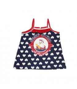 Mc baby - Kék színű szívecske mintás spagetti pántos ruha