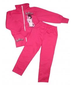 C.Teddy's- Sötét rózsaszín, elől cipzáros, elején filmnyomással díszített kétrészes melegítő szett
