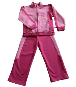 Király G. Rózsaszín, sötét rózsaszín betéttel díszített melegítő felső , sötét rózsaszín nadrággal 104-es