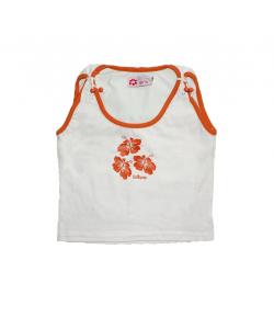 Lollipop- Fehér kislány trikó, narancs paszpollal díszítve 140-es