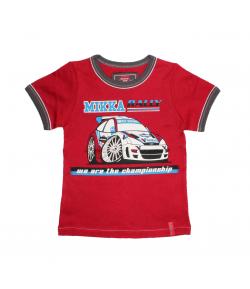 Mikka- Piros fiú póló, elején rally autó filmnyomással 116-os