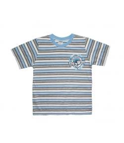 Teddy-s -Kék-fehér-szürke csíkos fiú póló 116-os