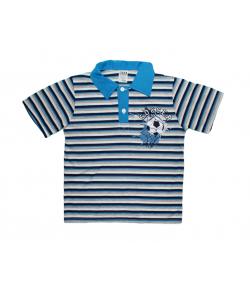 Teddy-s -Kék galléros, csíkos fiú póló 110-es