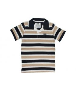 IDO- Sötétkék-fehér-bézs csíkos fiú póló 116-os