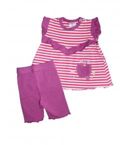 Boniface- Fehér -pink-lila csíkos felső -nyári térdnadrággal 68-as